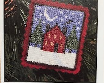 Winter House with Snow Ornament Mini Cross Stitch Sampler Pattern The Prairie Schooler