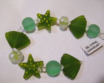 Clearance Matte Shades of Green Lampwork Glass Beads of the Sea Set of 10 Beads Starfish Shells