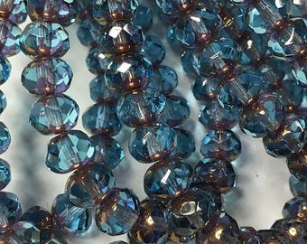 Aqua with Bronze Gold Finish Czech Pressed Glass Medium Faceted Rondelles 5mm x 7mm 25 beads