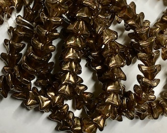 Bronze Transparent with Picasso Finish Czech Pressed Glass 5 Petal Star Flower Beads 6mm x 9mm 25 beads