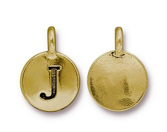 "Letter ""J"" Initial Pendant Tiny Gold Charm TierraCast Antique Gold Alphabet Charms TierraCast Lead Free Pewter 16.5x11.5mm One Charm"
