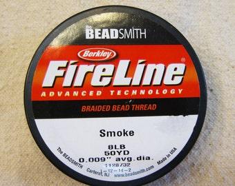 "8 lb Smoke Fireline Braided Beading Thread Size D .009"" Avg Diameter 50 yards"