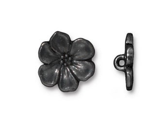 TierraCast Hematite Black Plate Apple Blossom Button 15.75mm x 5mm One button Made in the USA