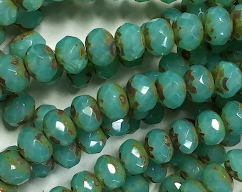 Aqua Green Opal Picasso Czech Pressed Glass Medium Faceted Rondelles 5mm x 7mm 25 beads