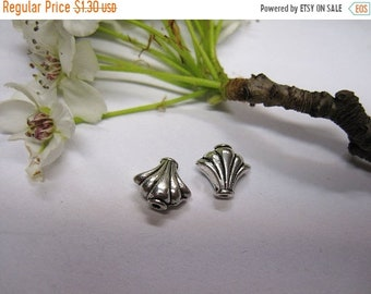 ON SALE 12 Antique Silver Pewter Fan Shaped Beads Scalloped Edges 9x10mm F313