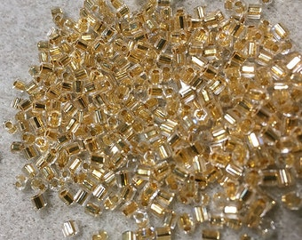 8/0 24KT Gold Lined Hex Cut Miyuki Seed Beads 9195