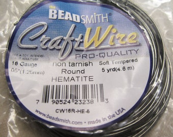 16 gauge Non Tarnish Hematite Beadsmith Copper Craft Wire 5 yards