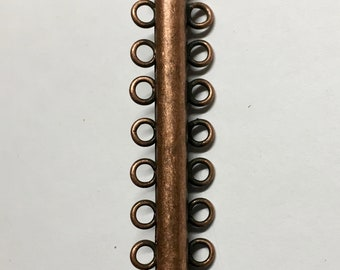 "2 Antique Copper Plated Brass 7 Strand Slide Clasps 41mm 1-5/8"" Slide Tube Clasps F472B"