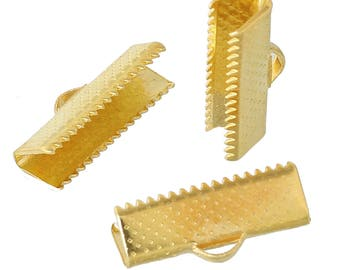 10 Textured Gold Plated Steel Ribbon Clamp Clasps Crimp End Clasps with Loop 20mm F144