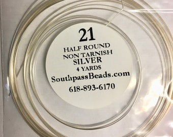 21 gauge Non Tarnish Silver Half Round Craft Wire 4 yards Made in USA