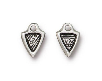 2 Antique Silver Ethnic Dart Double Sided Charm TierraCast Lead Free Pewter 18mm x 13mm Two Charms 2 pcs