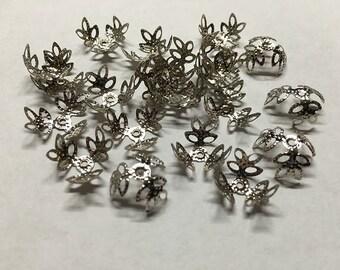 50 Filigree Bead Caps Large Silver Tone Leafy Flower Bead Caps 14mm x 14mm 50 pcs F350