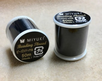 Black Miyuki Nylon Japanese Beading Thread 55 yards