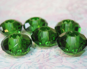 4 Emerald Green Large Hole 32 Facet Glass Rondelle Beads 14mm x 8mm with 5mm hole