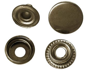 Antique Bronze Metal Snap Fastener Closure Buttons Round Antique Bronze Studs 15mm F223