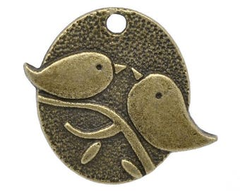 Clearance 10 Pair of Birds on a Branch Antique Bronze Charms Pendants 29mm x 25mm  10 pcs C205C