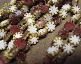25 Raspberry White Opaque and Opal Czech Pressed Glass Flat Cactus Flower Beads with Picasso Edges 9x3mm