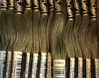 DMC 3011 Dark Khaki Green Embroidery Floss 2 Skeins 6 Strand Thread for Embroidery Cross Stitch Needlepoint Sewing Beading