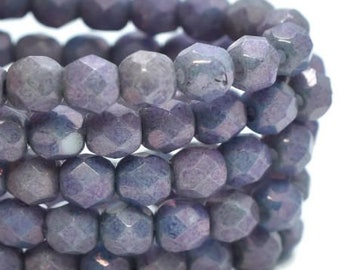 Fire Polished Crystals 4mm Purple Pansy with Metallic Finish Czech Glass Firepolished Crystal Beads 50 beads