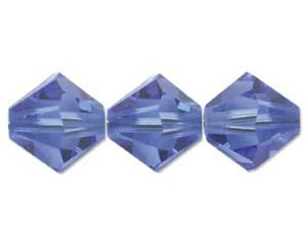 Sapphire 5328 Bicone Swarovski Crystal Beads 4mm