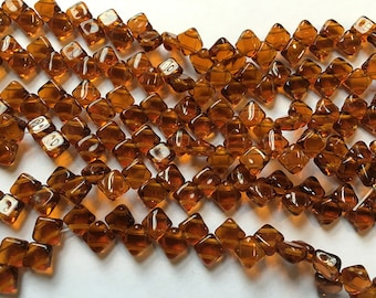 Topaz Two Hole Silky Czech Pressed Glass 6mm Two Hole Angled Square Beads 40 pcs