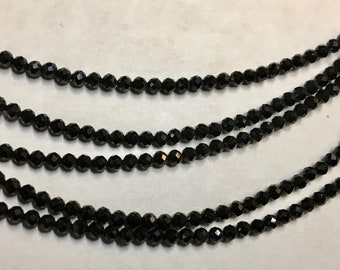 Black Spinel 2mm Faceted Gemstone Round Beads Approx 80 Beads