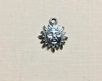 Sun Face Silver Plated Charm Pendant Solar Charm 13mm x 18mm Made in the USA One Charm