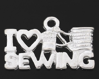 Clearance 10 I Love Sewing Silver Plated Charms Pendants Love to Sew Single Sided 20x12mm C180