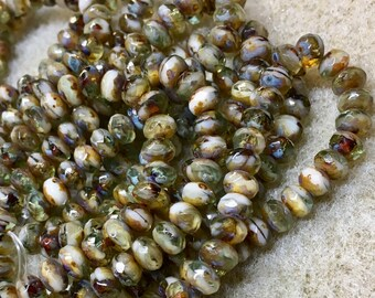 3x5mm Rondelles Pale Olive Sea Green and Off White with Picasso Finish Czech Pressed Glass Beads 30 beads