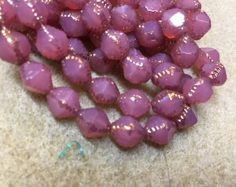 15 Orchid Pink Opal Carved Czech Glass Faceted Bicone Beads 10mm x 8mm with Gold Picasso Radiant Orchid 15 pcs