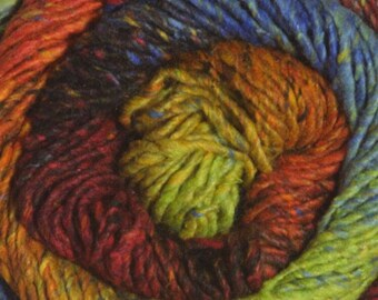 Clearance Melilla Silk Wool Nylon Yarn Tropical Bird Orange Blue Yellow Red Green 220 yards Worsted Weight Color 08