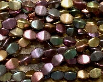 Metallic Mix Pinch Beads Grey Gold Bronze Purple Green Pinch Beads Czech Pressed Glass 5mm 30 beads