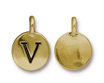 "Letter ""V"" Initial Pendant Tiny Gold Charm TierraCast Antique Gold Alphabet Charms TierraCast Lead Free Pewter 16.5x11.5mm One Charm"