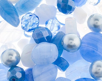 Blue Washed Czech Glass Bead Assorted Bead Mix Shades of Blue with White 50 grams