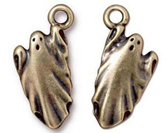 Ghost Charm Antique Bronze Unearthly Spirit Pendant Charm TierraCast Lead Free Pewter 24mm x 11mm
