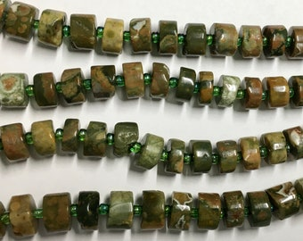 Green Garnet Gemstone Wheel Shaped Beads 8 to 12mm Approx 25 beads per 8 inch Strand