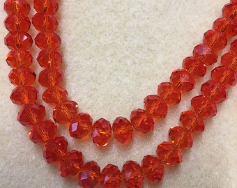 Half Price Light Cherry Crystal Mix Glass Crystal Rondelles 8x5mm Approx 35 beads
