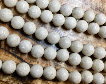 Fossil Jade Gemstone Smooth Rounds Beads 10mm Approx 20 pcs per 8 inch strand