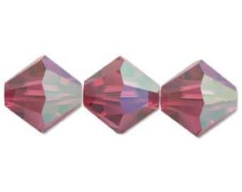 Fuchsia AB 5328 4mm Bicone Swarovski Crystal Beads 48 beads
