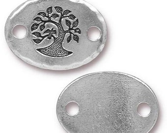 ON SALE Bird in a Tree Link Antique Silver TierraCast Lead Free Pewter 20mm x 15mm One connector