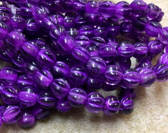 6mm Melon Beads Purple Pansy with Purple Wash Czech Pressed Glass Round Large Hole Beads 6mm 25 beads