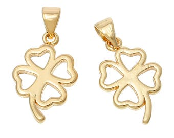 Four Leaf Clover 14K Gold Plated Heart Pendant Charms with Bail 23mm 2 pcs F440
