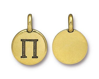 Pi Greek Letter Pendant Tiny Gold Charm TierraCast Antique Gold Greek Letter Charm TierraCast Lead Free Pewter 16.5x11.5mm One Charm