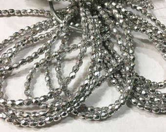 Silver Metallic Czech Glass Firepolished Crystal Beads 3mm 50 beads