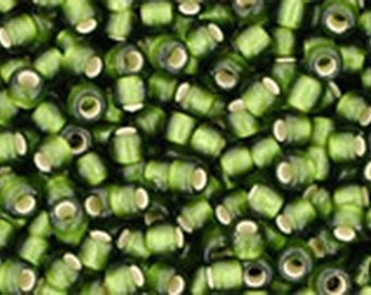 11/0 Silver Lined Frosted Olive Green Toho Glass Seed Beads 2.5 inch tube 8 grams TR-11-37F