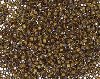 11/0 Miyuki Delica Brown/Tan Matte Picasso Glass Seed Beads 7.2 grams DB2267