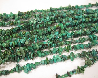 Turquoise Dyed Stabilized Chipstone Strand 34 inches