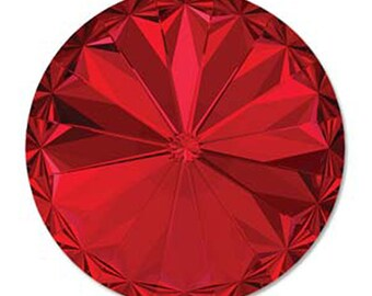 10mm Swarovski 1122 Scarlet Red Faceted Foil Back Rivoli 47ss 2 pcs