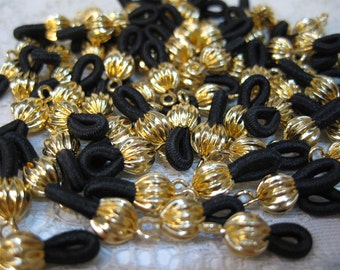 12 Gold Plated Eyeglass Chain Holders with Black Elastic Loops Made in the USA F214