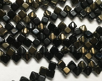Jet Valentine Two Hole Silky Czech Pressed Glass 6mm Two Hole Angled Square Beads 40 pcs